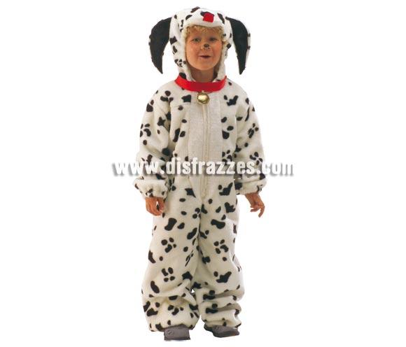 Disfraz de Dálmata para niños de 1 a 3 años. Incluye mono con capucha y collar. Un disfraz muy calentito para Carnaval.