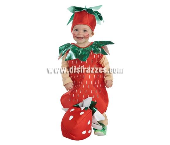 Disfraz de Bebé Fresa para niñas de 1 a 3 años. Incluye pantalón, camiseta, cuerpo y tocado.