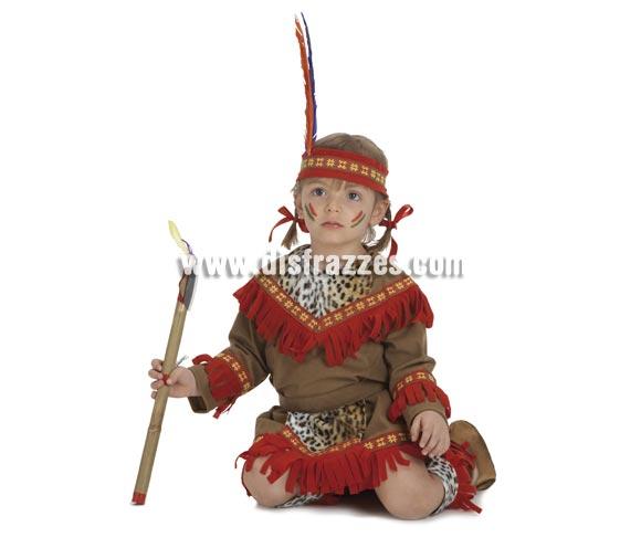 Disfraz de Bebé India lujo para niñas de 1-3 años. Incluye vestido, delantal, calentadores y cinta de la cabeza. Hacha NO incluida, aunque no la recomendamos para niños tan pequeños por si se hacen daño, la podrás ver si quieres en la sección de Complementos - Armas.