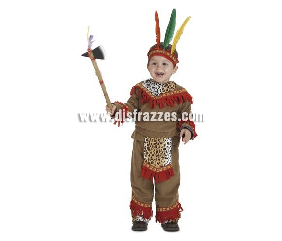 Disfraz de Bebé Indio lujo para niños de 1-3 años. Incluye pantalón, casaca, delantal y cinta de la cabeza. Hacha NO incluida, aunque no la recomendamos para niños tan pequeños por si se hacen daño, la podrás ver si quieres en la sección de Complementos - Armas.