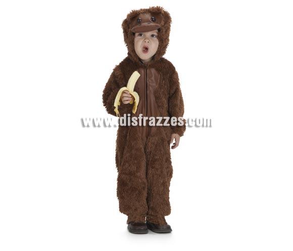 Disfraz de Bebé Mono o Chimpancé para niños de 1 a 3 años. Incluye mono con capucha. Un disfraz muy calentito para el Carnaval..