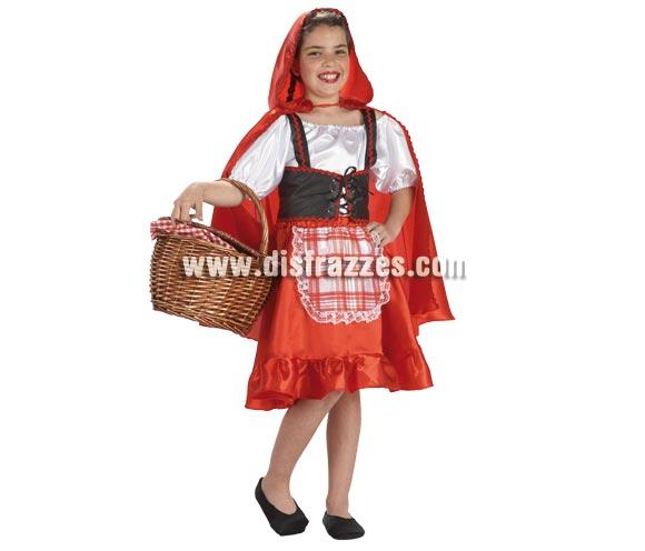 Disfraz de Caperucita Roja para niñas de 8 a 10 años. Incluye falda con delantal, camisa, capa y corpiño.