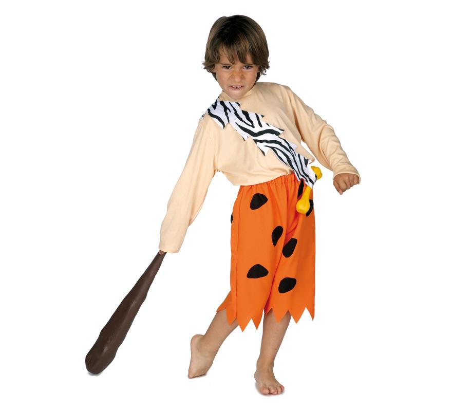 Disfraz de Cavernícola para niños de 3 a 5 años. Incluye camiseta, banda con hueso, y pantalón. Maza NO incluida, podrás verla en la sección de Complementos. Ideal para imitar a Pedro Picapiedra.