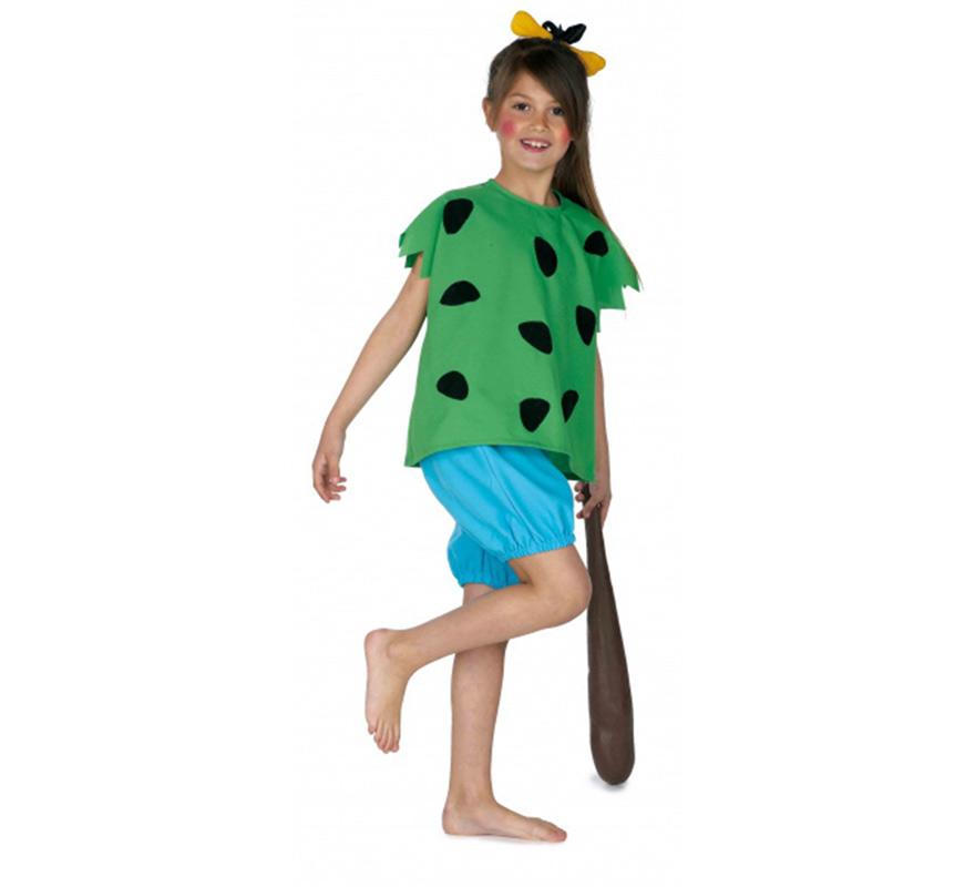 Disfraz de Cavernícola para niñas de 3 a 5 años. Incluye camiseta y pantalón. Maza y hueso de la cabeza NO incluidos, podrás ver en la sección de Complementos. Ideal para imitar a Pebbles Picapiedra.