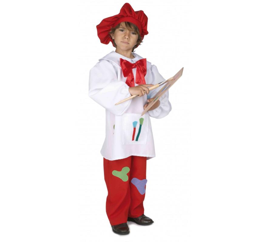 Disfraz de Pintor para niños de 5 a 7 años. Incluye casaca con lazo, pantalón y gorro. Con este disfraz se creerán que son el pintor Dalí.