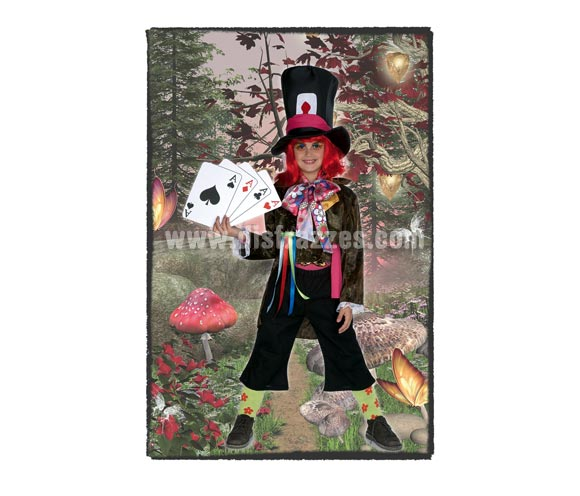 Disfraz de Sombrerero para niños de 3 a 5 años. Incluye pantalón, chaqueta, pañuelo para el cuello, sombrero y cinta para el sombrero. Resto de accesorios NO incluidos, podrás verlos en la sección de Complementos. Disfraz del Sombrerero Loco en Alicia en el país de las Maravillas.