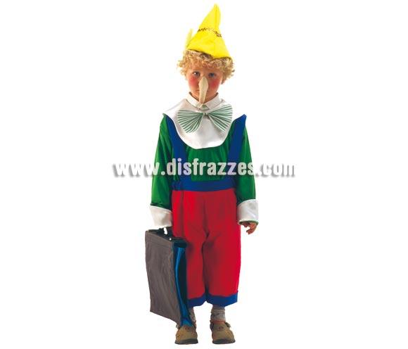 Disfraz barato de Pinocho para niños de 5 a 7 años. Incluye peto, camisa, gorro y nariz.