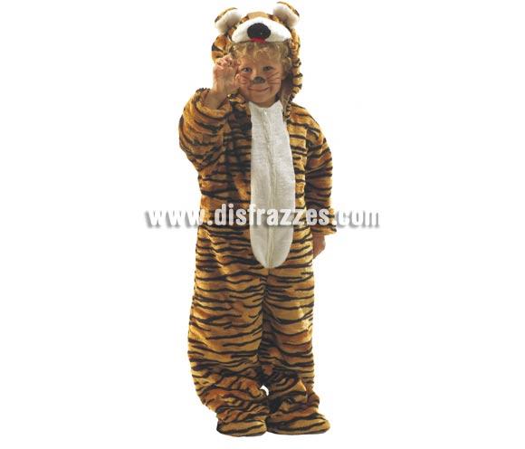 Disfraz de Tigre para niños de 3 a 5 años. Incluye mono con capucha. Un disfraz muy calentito para Carnaval.