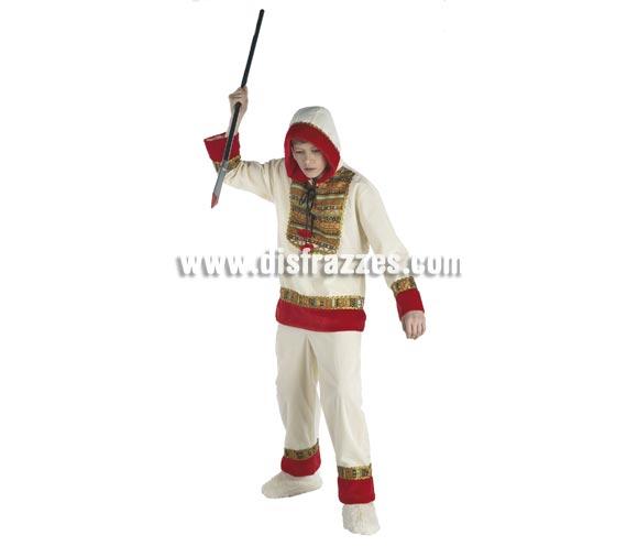 Disfraz de Esquimal para niños de 5 a 7 años. Incluye casaca con capucha y pantalón. Lanza NO incluida.