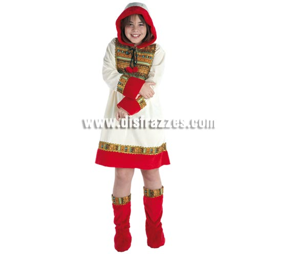 Disfraz de Esquimal para niñas de 8 a 10 años. Incluye vestido con capucha y cubrebotas. Con éste disfraz la niña podrá ir calentita y disfrazada a la vez, que no siempre es fácil.