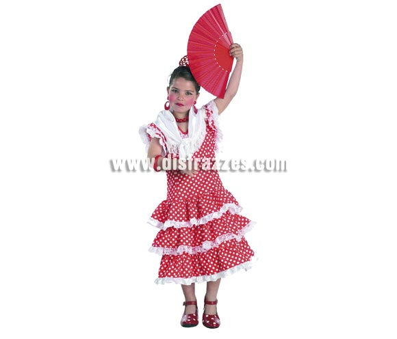 Disfraz de Andaluza para niñas de 8 a 10 años. Incluye vestido y pañuelo. Resto de accesorios NO incluidos, podrás verlos en la sección de Complementos. Disfraz de Sevillana, Flamenca, Rociera o Gitana perfecto para la Feria de Abril.