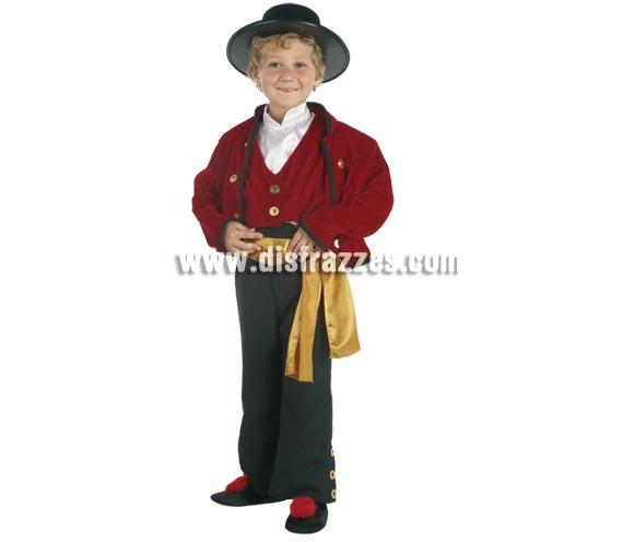 Disfraz de Campero para niños de 8 a 10 años. Incluye pantalón, chaqueta con chaleco, camisa y fajín. Sombrero NO incluido, podrás verlo en Complementos. Disfraz de Cordobés infantil.