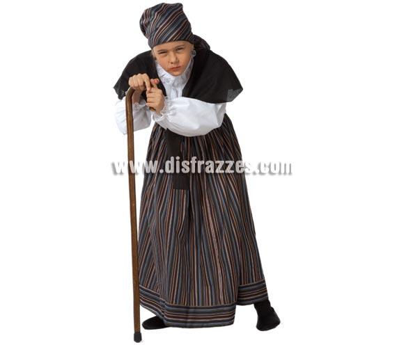 Disfraz de Abuelita para niñas de 5 a 7 años. Incluye falda, camisa, toquilla y pañuelo. Con éste disfraz de Abuela o Vieja, una niña puede dar bastante la nota, jejeje, ¡Está genial! También podría servir como disfraz de Castañera.