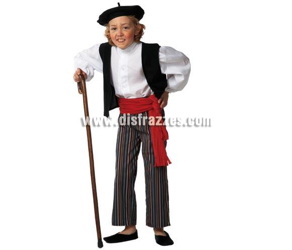 Disfraz de Abuelito para niños de 5 a 7 años. Incluye pantalón, camisa, chaleco, cinturón y boina. Con éste disfraz de Abuelo o Viejo, un niño puede dar bastante la nota, jejeje, ¡Está genial!