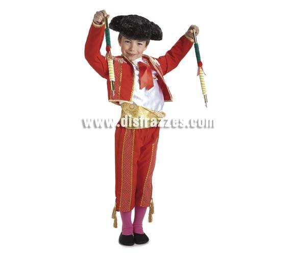 Disfraz de Torero para niños de 8 a 10 años. Incluye pantalón, camisa, chaqueta y fajín. Montera NO incluida, podrás verla en la sección de complementos.