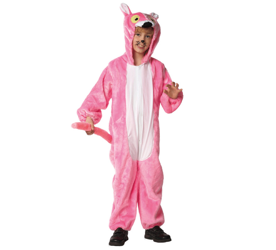 Disfraz de Pantera para niños de 3 a 5 años. Incluye mono con capucha. Un disfraz muy calentito para Carnaval.