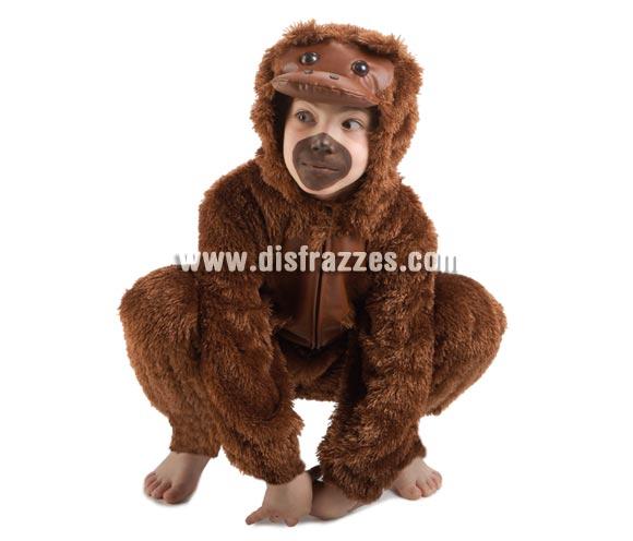 Disfraz de Mono  o Chimpancé para niños de 5 a 7 años. Incluye mono con capucha. Con éste disfraz el niño irá muy calentito en Carnaval.