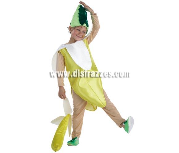 Disfraz de Plátano para niños de 3 a 5 años. Incluye pantalón, camiseta, cuerpo y tocado.