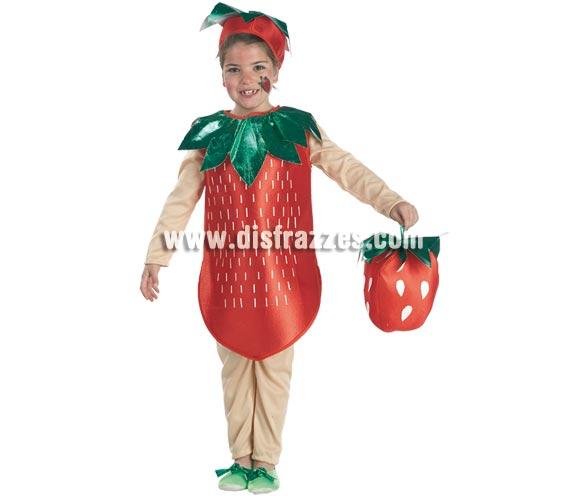 Disfraz de Fresa para niñas de 3 a 5 años. Incluye pantalón, camiseta, cuerpo y tocado.