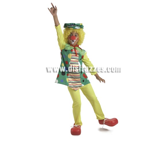 Disfraz de Payasa Topos para niñas de 8 a 10 años. Incluye vestido, gorra y pantalón. Resto de accesorios NO incluidos, podrás verlos en la sección de Complementos.