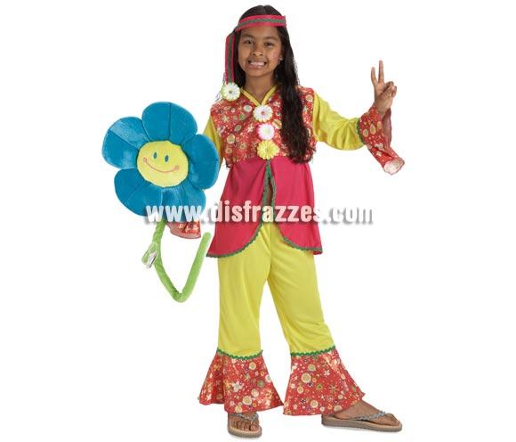 Disfraz de Hippie Flor lujo para niñas de 8 a 10 años. Incluye pantalón, camisa y cinta de la cabeza.