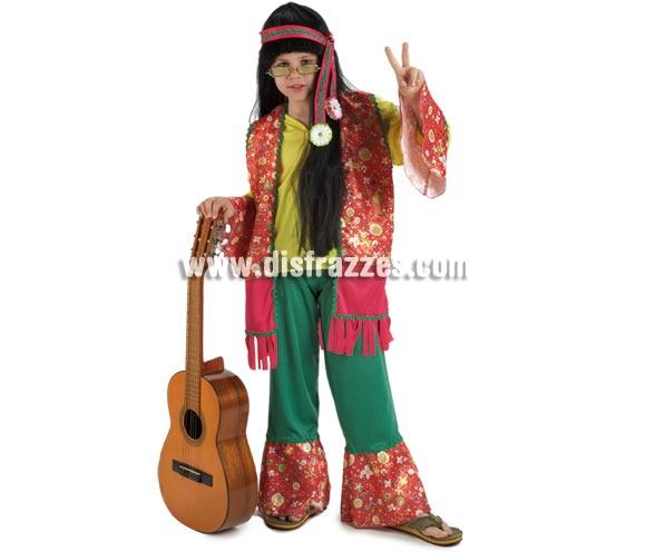 Disfraz de Hippie para niños de 8 a 10 años. Incluye pantalón, casaca y cinta de la cabeza.
