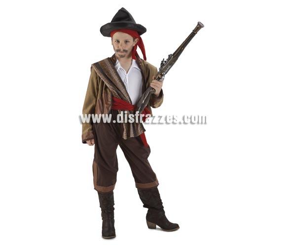 Disfraz de Bandolero Contrabandista para niños de 8 a 10 años. Incluye pantalón, chaqueta, camisa, fajín, pañuelo, manta y gorro. Arcabúz NO incluido, podrás ver algunos modelos en la sección de Complementos - Armas. con éste disfraz el niño parece Curro Jimenez.