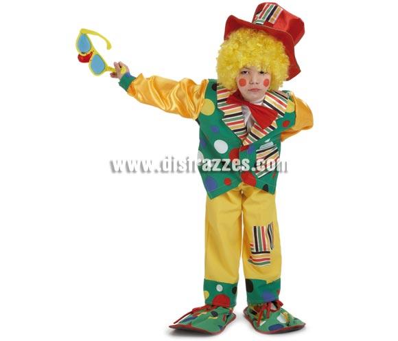 Disfraz de Payaso Topos para niños de 5 a 7 años. Incluye pantalón, chaqueta, camisa con pajarita y gorro. Resto de accesorios NO incluidos, podrás verlos en la sección de Complementos.