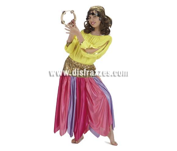 Disfraz de Zíngara para niñas de 5 a 7 años. Incluye falda, camisa y pañuelo. Pandereta NO incluida.