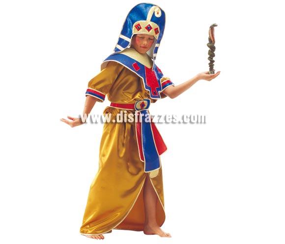 Disfraz de Egipcio para niños de 5 a 7 años. Incluye falda, camisa, cuello, cinturón y turbante.