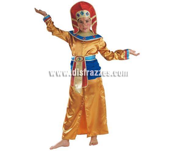 Disfraz de Egipcia para niñas de 5 a 7 años. Incluye falda, camisa, cuello, cinturón y turbante.