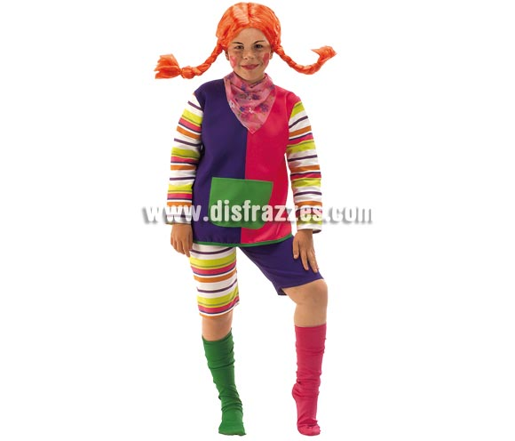 Disfraz de Pipi Calzaslargas para niñas de 5 a 7 años. Incluye camisa, pantalón, pañuelo y calcetines. Peluca NO incluida, podrás verla en la sección de Complementos.