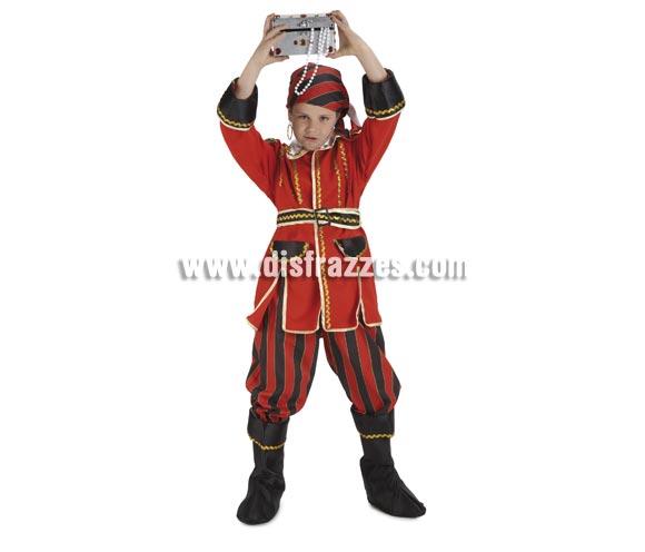 Disfraz de Pirata rayas para niños de 5 a 7 años. Incluye pantalón, chaqueta, cinturón, pañuelo y cubrebotas.