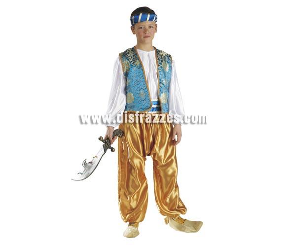 Disfraz de Moro o Árabe para niños de 5 a 7 años. Incluye pantalón, camisa, chaleco, cinturón y turbante. Espada NO incluida, podrás ver espadas en la sección de Complementos - Armas. También podría servir como disfraz de Paje Real de Los Reyes Magos para Navidad.