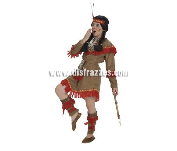 Disfraz de India lujo para niñas de 8 a 10 años. Incluye vestido, delantal, calentadores y cinta de la cabeza. Hacha NO incluida, podrás verla en la secciónde Complementos.