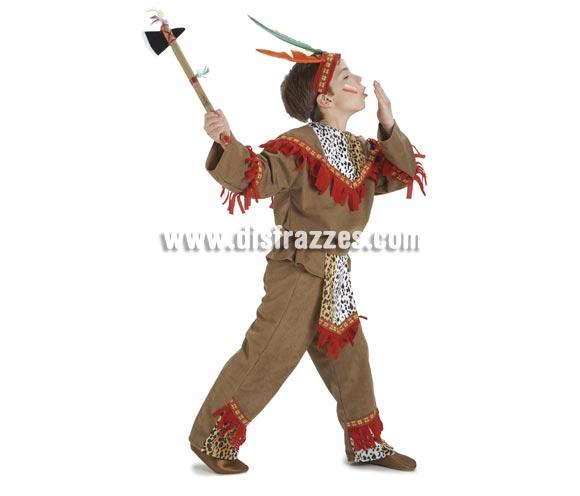 Disfraz de Indio lujo para niños de 8 a 10 años. Incluye pantalón, casaca, delantal y cinta. Hacha NO incluida, podrás verla en la sección de Complementos - Armas.