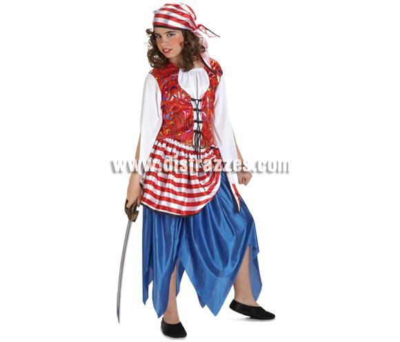 Disfraz de Pirata Bucanera para niñas de 8 a 10 años. Incluye falda con fajín, camisa y pañuelo. Espada NO incluida, podrás verla en la sección de Complementos.