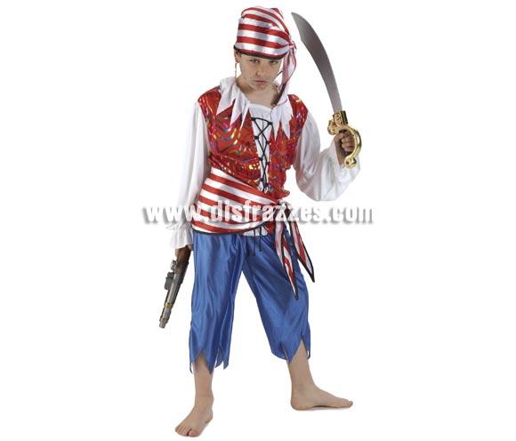 Disfraz Bucanero Pirata para niños de 8 a 10 años. Incluye pantalón, camisa, fajín y pañuelo. Armas NO incluidas, las podrás ver en la sección de Complementos.