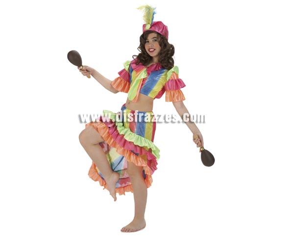 Disfraz de Rumbera para niñas de 5 a 7 años. Incluye falda, top y tocado. Maracas NO incluidas, podrás ver algunas referencias en la sección de Complementos. Disfraz de Caribeña o Brasileña para niñas perfecto para bailes de Fin de curso en Colegios.