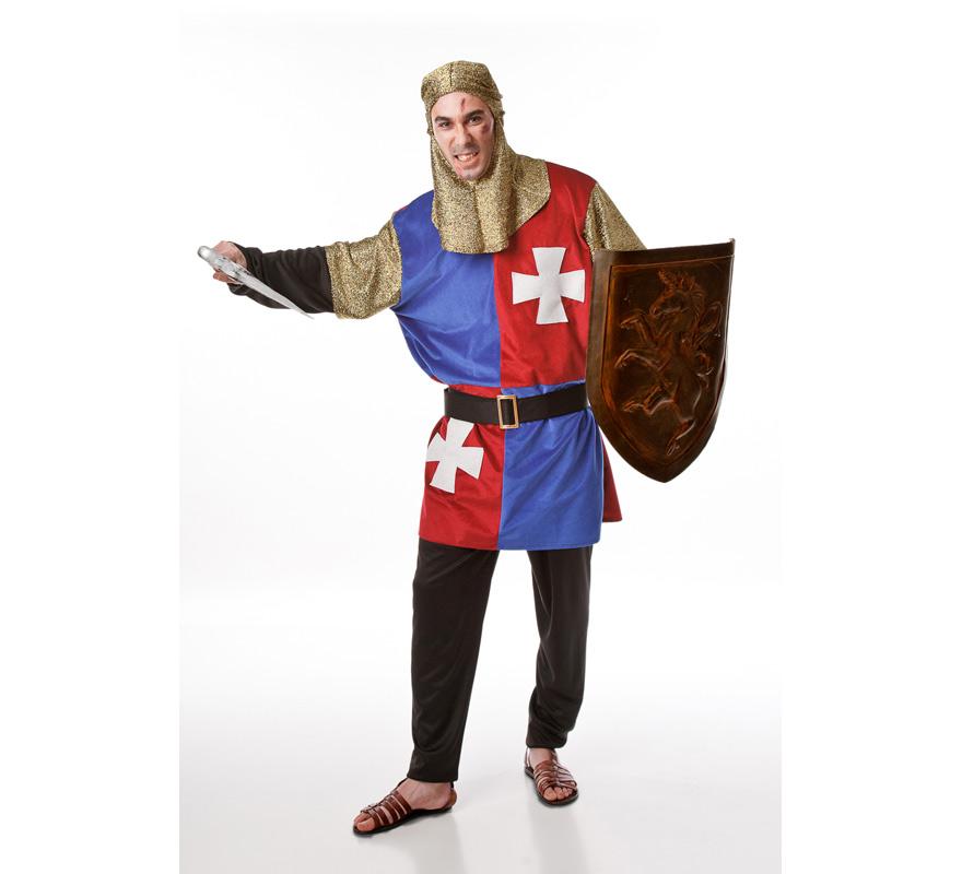 Disfraz para hombres de Caballero Medieval Azul. Incluye casaca, cinturón, pantalón y malla para la cabeza. Escudo y espada NO incluidos, podrás encontrar en nuestra sección de Accesorios.