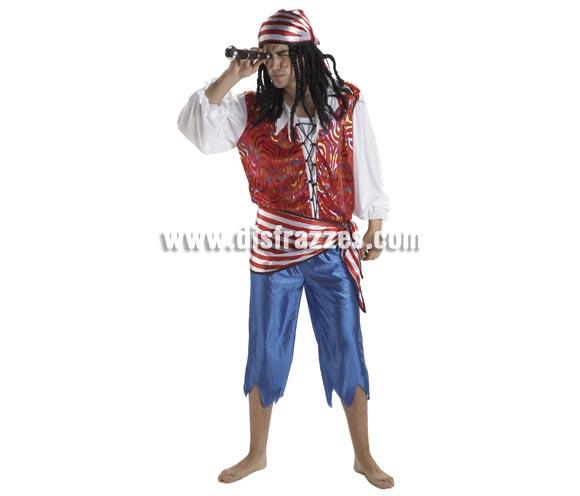 Disfraz de Pirata Bucanero para hombre. Talla Standar. Incluye pantalón, camisa, pañuelo y fajín. Catalejo NO incluido, podrás verlo en la sección de Complementos.