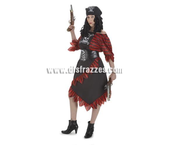 Disfraz de Pirata Caribeña para mujer. Talla Standar. Incluye falda, camisa, cinturón y pañuelo. Pistolas NO incluidas, las verás en Complementos.
