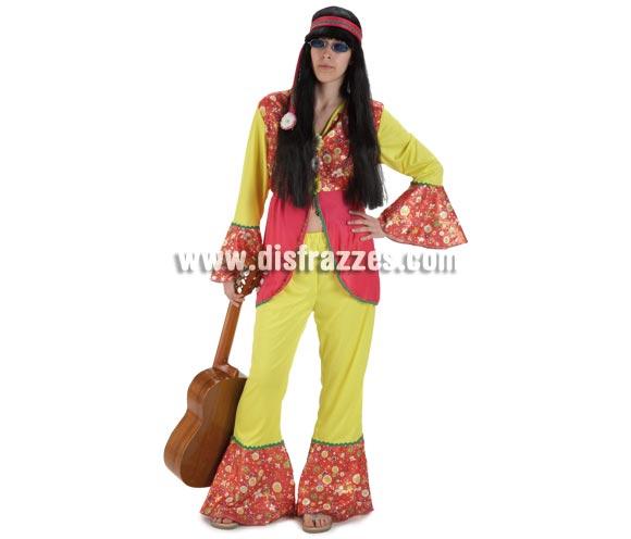 Disfraz de Hippie Flor para mujer. Talla Standar. Incluye pantalón, camisa y cinta de la cabeza. La guitarra no la tenemos, pero lo que si que tenemos son infinidad de gafas y complementos Hippies que podrás ver en nuestra web.