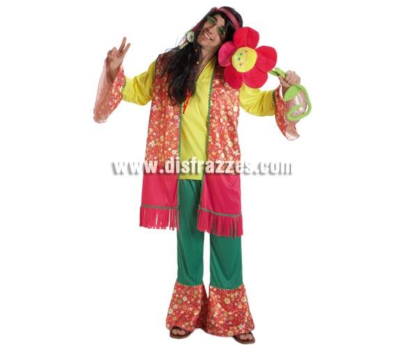 Disfraz de Hippie Flor para hombre. Talla Standar. Incluye pantalón, casaca y cinta de la cabeza.