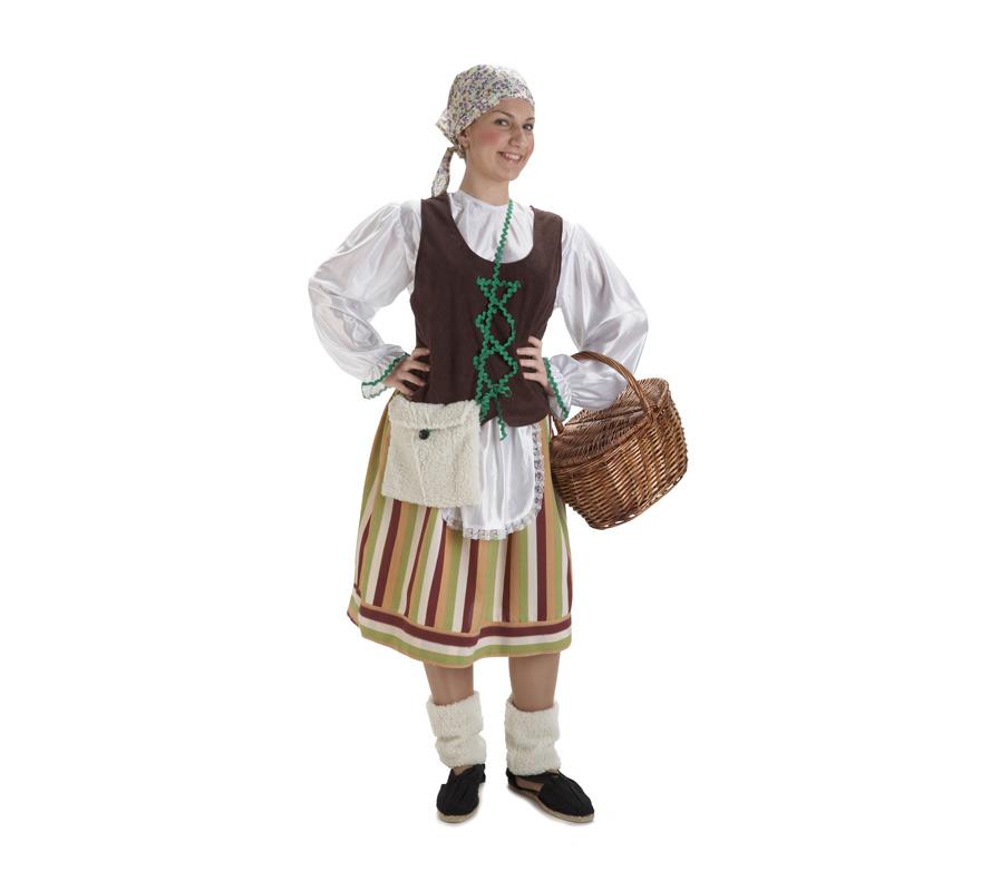 Disfraz de Pastora, Pastorcilla o Pastorcita para mujer. Talla Standar de mujer. Contiene falda con delantal, camisa, chaleco, pañuelo, calentadores y bolso. Perfecto para Cabalgatas de Reyes Magos y Belén viviente.