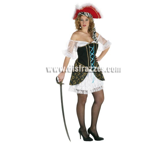 Disfraz de Pirata Corsaria del Caribe para mujer. Talla Standar. Incluye falda, camisa y corpiño. Resto de accesorios NO incluidos, podrás verlos en la sección de Complementos. Un disfraz muy fresquito ideal para disfrazarse en verano.