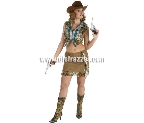 Disfraz barato de Vaquera o Pistolera sexy para mujer. Talla Standar. Incluye falda y camisa. Resto de accesorios NO incluidos, podrás verlos en Complementos. Un disfraz muy fresquito ideal para disfrazarse en verano.