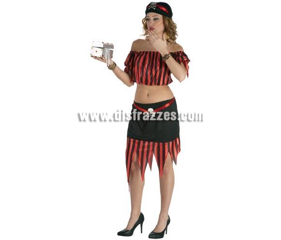 Disfraz barato de Pirata sexy para mujer. Talla Standar. Incluye camisa, falda y pañuelo. Un disfraz muy fresquito ideal para disfrazarse en verano.