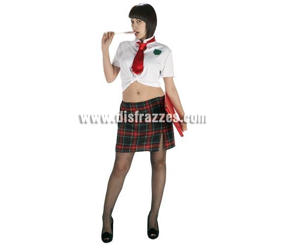 Disfraz barato de Colegiala sexy para mujer. Talla Standar. Incluye camisa, corbata y falda.