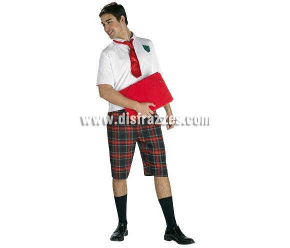 Disfraz de Colegial para hombre. Talla Standar. Incluye pantalón, camisa y corbata.